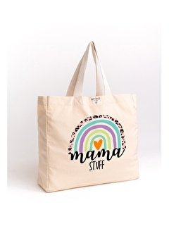Happy Onesie Co Rainbow Mama Stuff Baskılı Organik Yıkanmış Kanvas Çanta